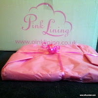 Pink lining bag wrapped up