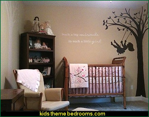 Silhouette Swing Wall Mural  Tree Murals - tree wall decals - tree wall murals - Tree Wallpaper - tree wall stickers -  decorating with trees - tree wallpaper mural - Outdoor Bedroom decorating ideas - birch trees - forest trees wallpaper murals - tree props