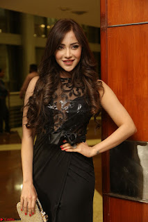 Angela Krislinzki in Transparent Black Gown at Rogue Movie Teaser Launch 1st March 2017 100.JPG