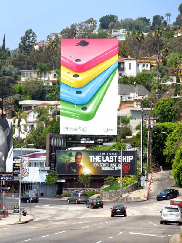 Giant iPhone 5c colour white background billboard Sunset Strip