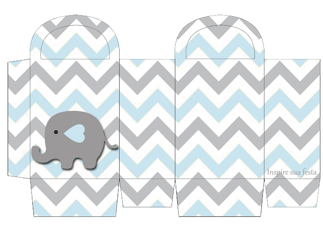 Baby Elephant in Grey and Light Blue Chevron Free Printable Box.
