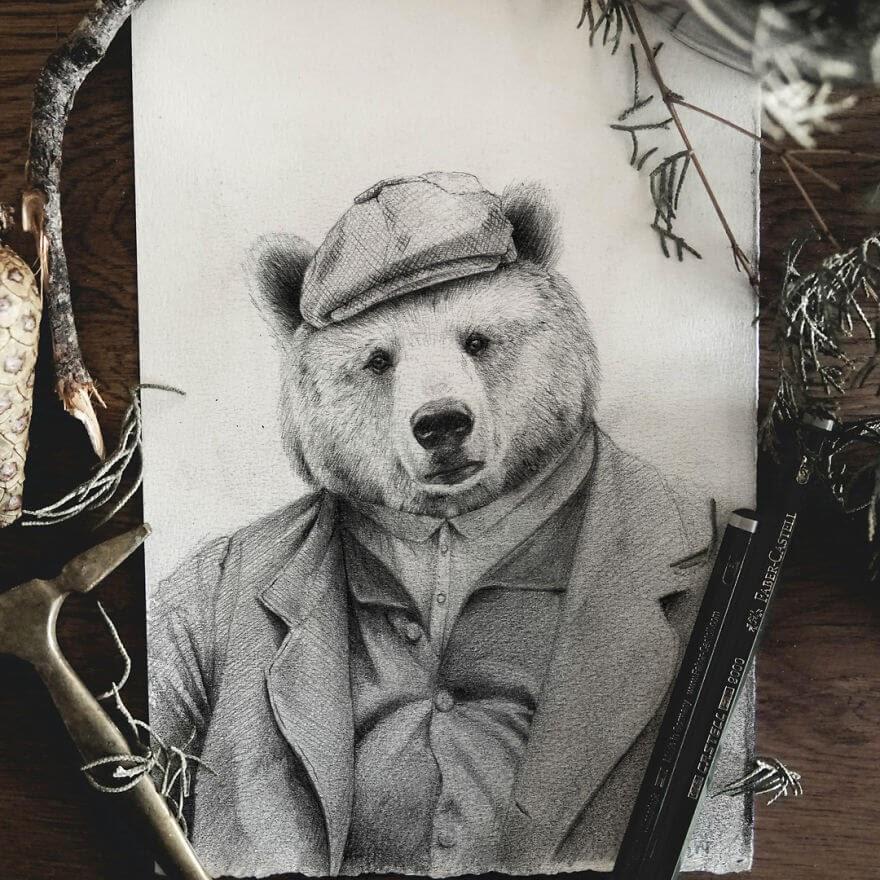 12-Uncle-Ben-Mike-Koubou-Animal-Family-Album-Portrait-Drawings-www-designstack-co