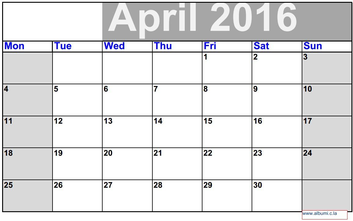 3 April Calendar 2016 To Print 2016 Blank Calendar