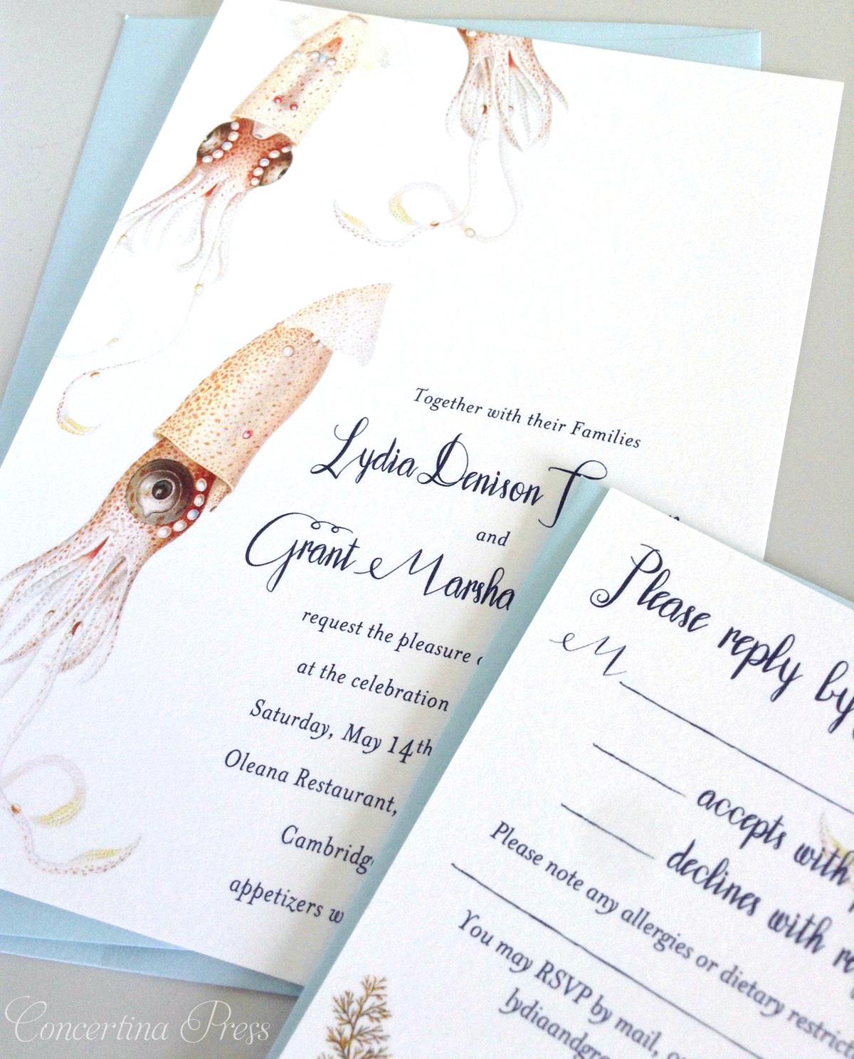 Squid Aquarium Wedding Invitations from Concertina Press
