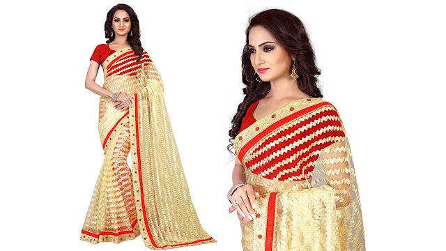 Aruna Sarees Self Design Fashion Art Silk, Net Saree  (Beige)
