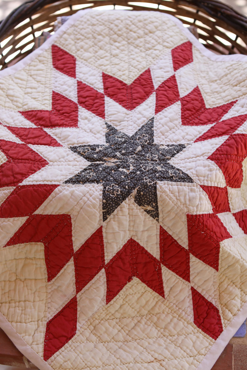Antique star doll quilt