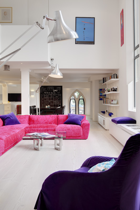 Picture of modern living room with pink and purple furniture