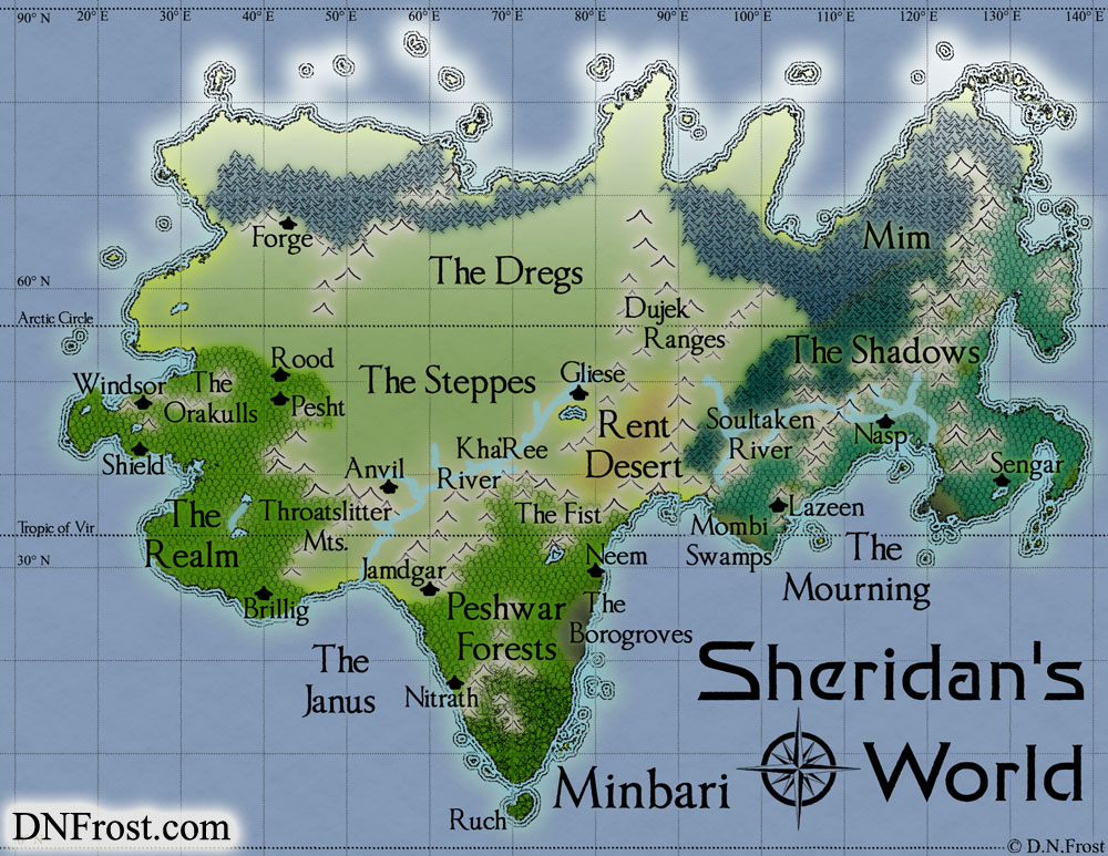 Minbari of Sheridan's World, a map commission by D.N.Frost for Stephen Everett http://DNFrost.com/portfolio