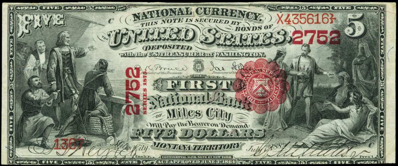 United States paper money 1875 Five Dollar Bill National Currency