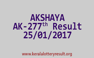 AKSHAYA AK 277 Lottery Results 25-01-2017