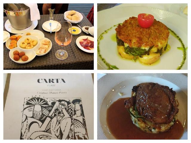 Pratos e petiscos do restaurante pena em Amarante