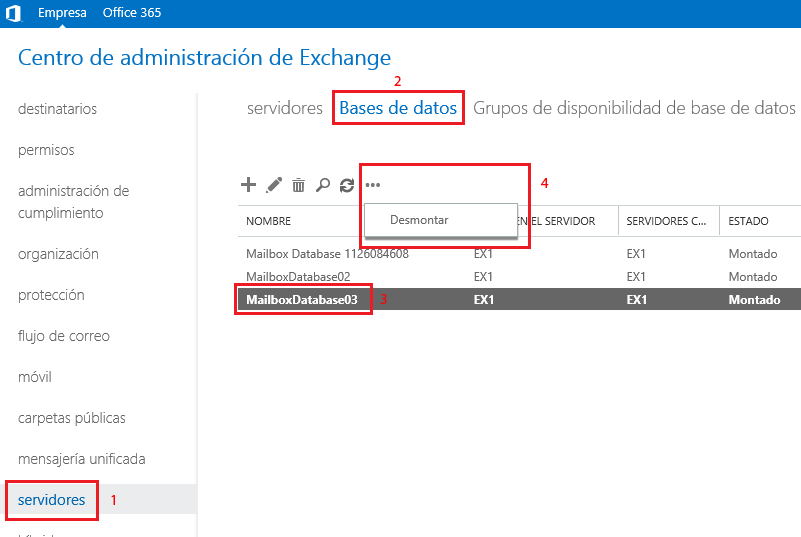 Desmontar base de datos en Microsoft Exchange 2013