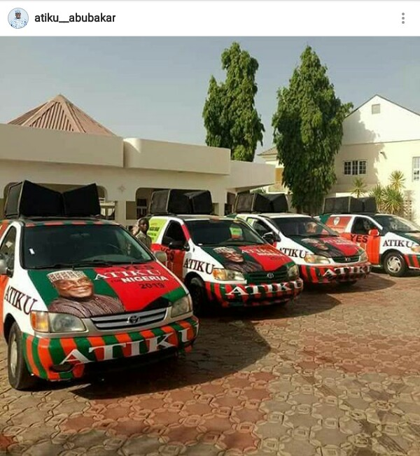 Osetigo! Atiku Abubakar shares a photo of his 2019 campaign vehicles