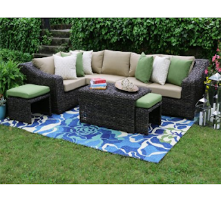 AE Outdoor Williams 8 Piece Sectional with Sunbrella Fabric, Decorating Outdoor Space, Outdoor Furniture, Outdoor Space, Outdoor Space Decorating Tips, Patio Furniture,