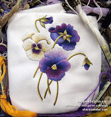 Finished project: thread painted purple and cream embroidered pansies. (Pansies designed by Trish Burr)