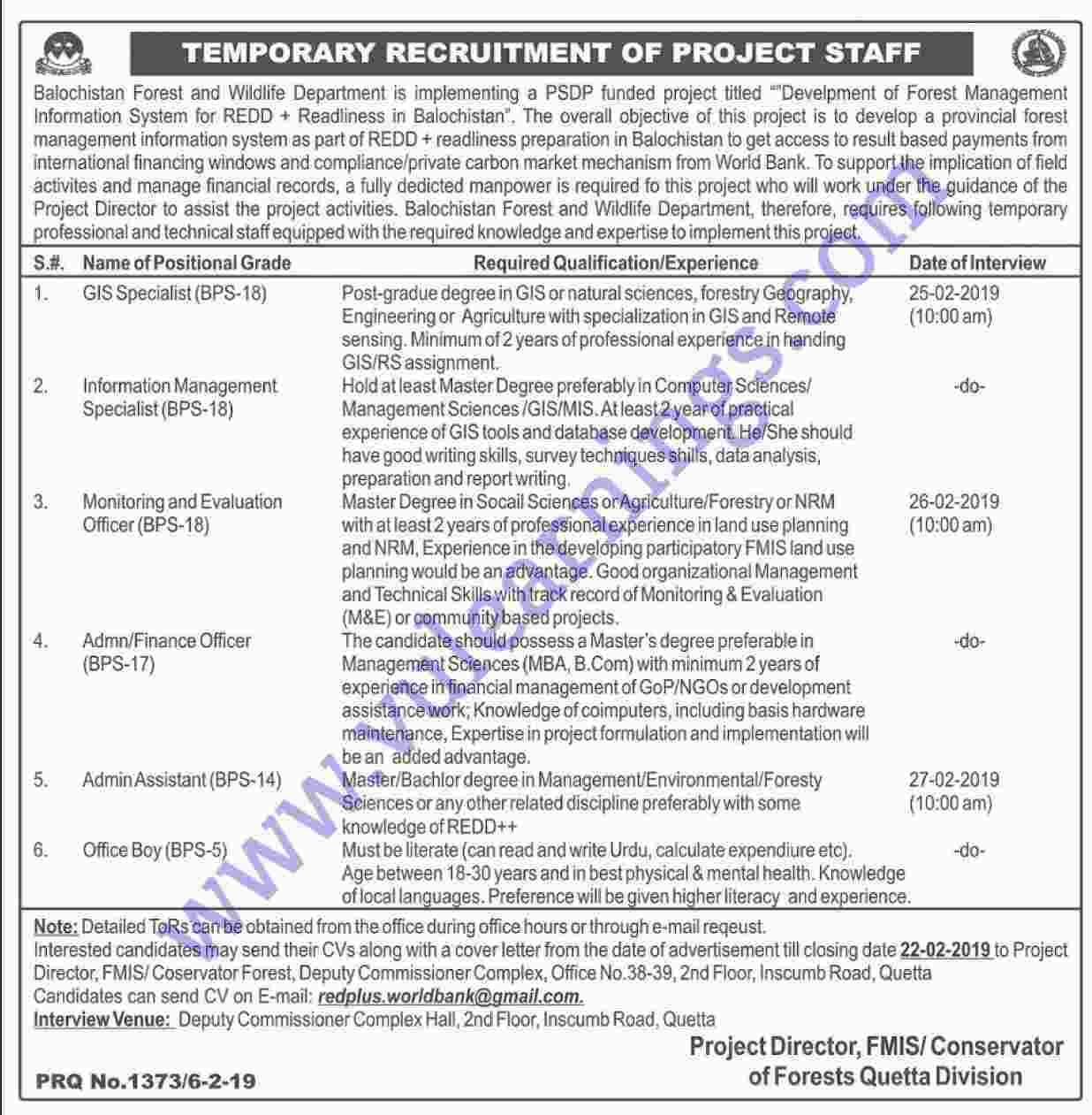 Job in Baluchistan and wildlife Department