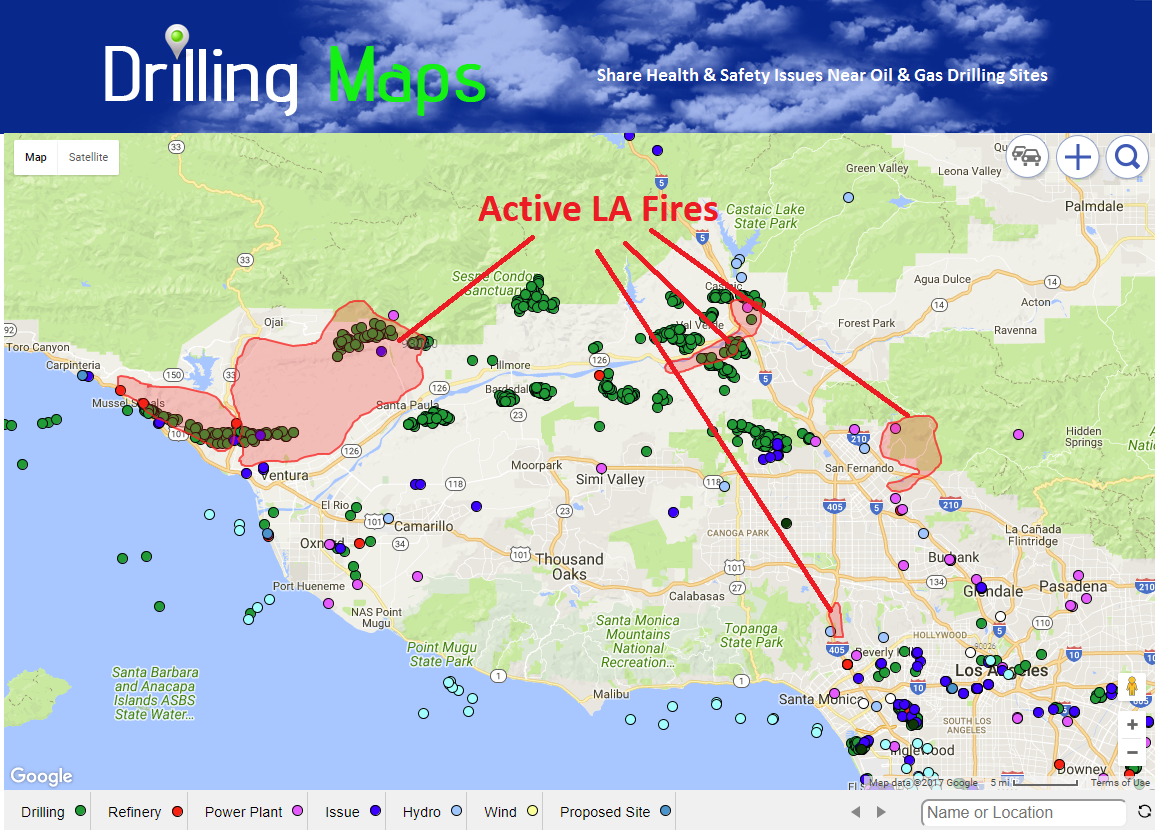 map of la & ventura fires near oil & gas fields