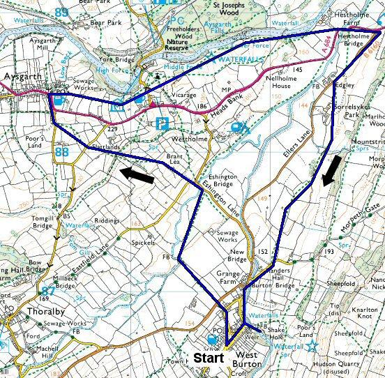 Aysgarth falls and west burton falls walk map - route