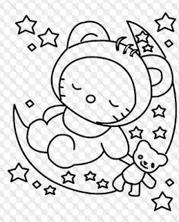 Gambar Mewarnai  Hello Kitty Tidur di Bulan