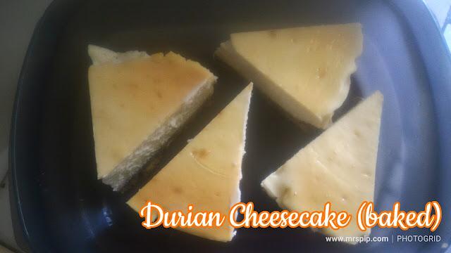 Resepi Durian Cheesecake (baked) mudah dan sedap