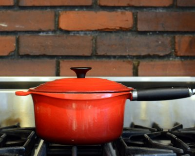 My favorite LeCreuset pot in the classic red color