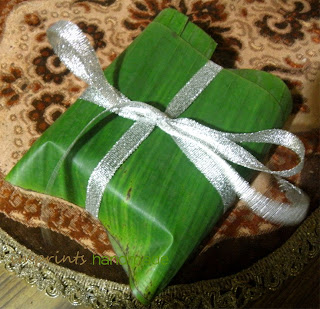 Goat milk natural soap wrapped in banana leaf