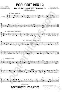 Partitura de Trompa y Corno Francés en Mi bemol Popurrí Mix 12 Partituras de Al Pasar la Barca, Mi Barba tiene tres pelos, El buen rabadan, Aur Clair de la luna Infanti Sheet Music for French Horn Music Scores