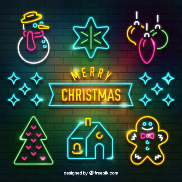 Neon collection of christmas attributes Free Vector