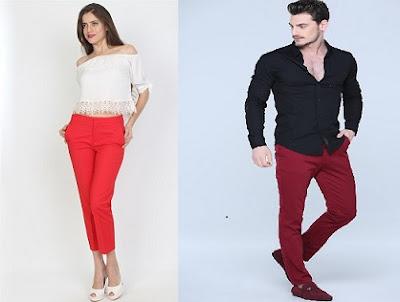 Kırmızı pantolon kombin