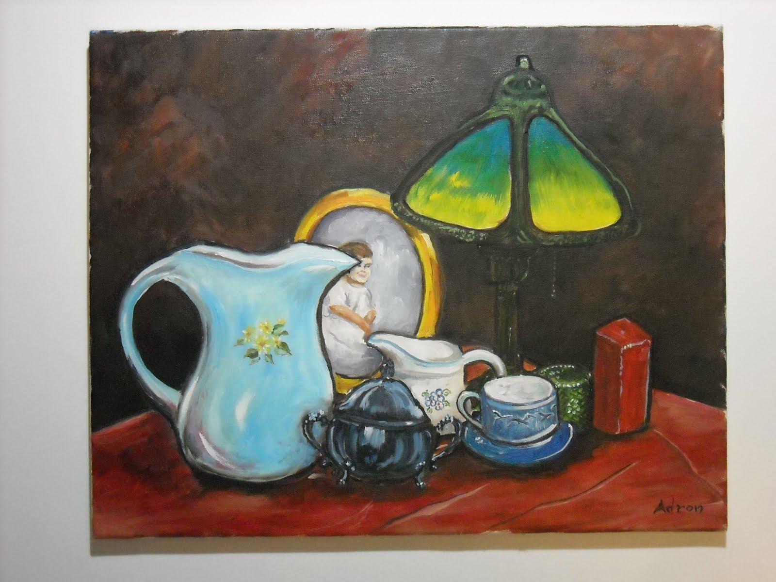 Artist Adron Still Life With Art Deco Lamp