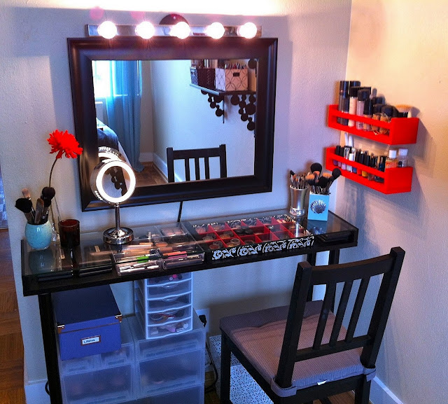 beautiful black corner vanity table design with lighted mirror