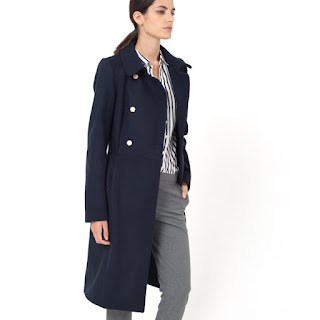 La Redoute Laura Clement Military Style Double Breasted Coat