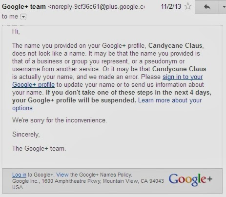 Letter showing that Google doesn't believe Santa Claus is real. Boo.