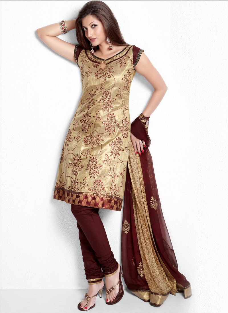 28e087faf0 Banarasi Beige Shade Kameez with Silk Churidar - Cbazaar Party Suit ~  Ladies Fashion Style