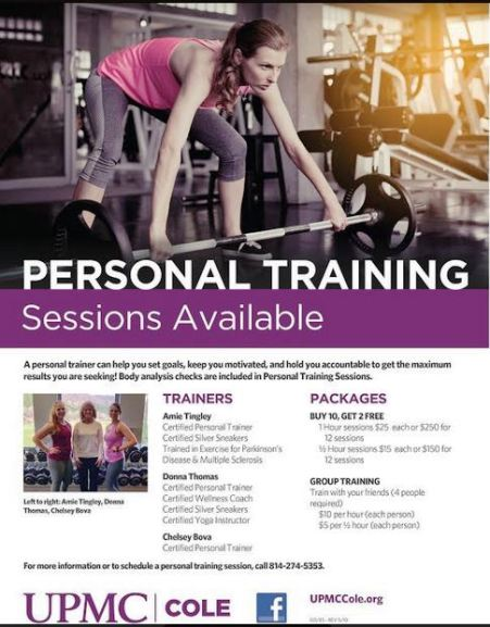 Personal Training Sessions Available at UPMC Cole