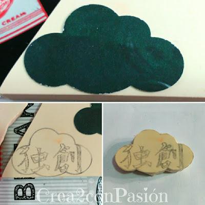 Carvado-sello-de-caucho-con-gubias-kanji-chino-en-nube-creativo-original-Crea2-con-Pasión-primero-pasos
