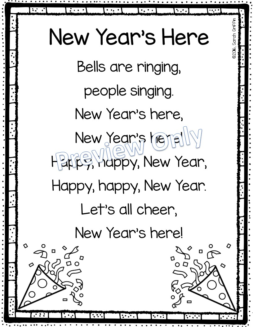 Daughters and Kindergarten: Happy New Year Poem and Activity