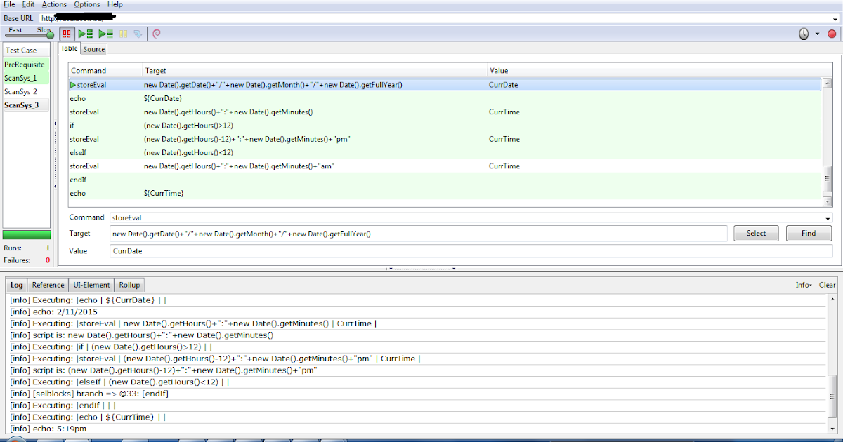 Through Selenium IDE finding the current date and time in specific