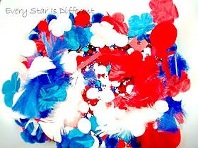 Red, White, and Blue Sensory Bin