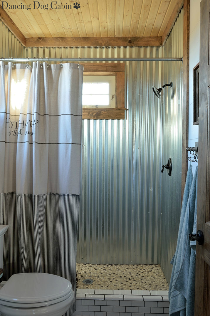 Building The Custom Shower Pan And Working With Sheets Of Corrugated Metal Was Not Easy But My Husband Pulled It Off We Both Couldnt Be More Pleased