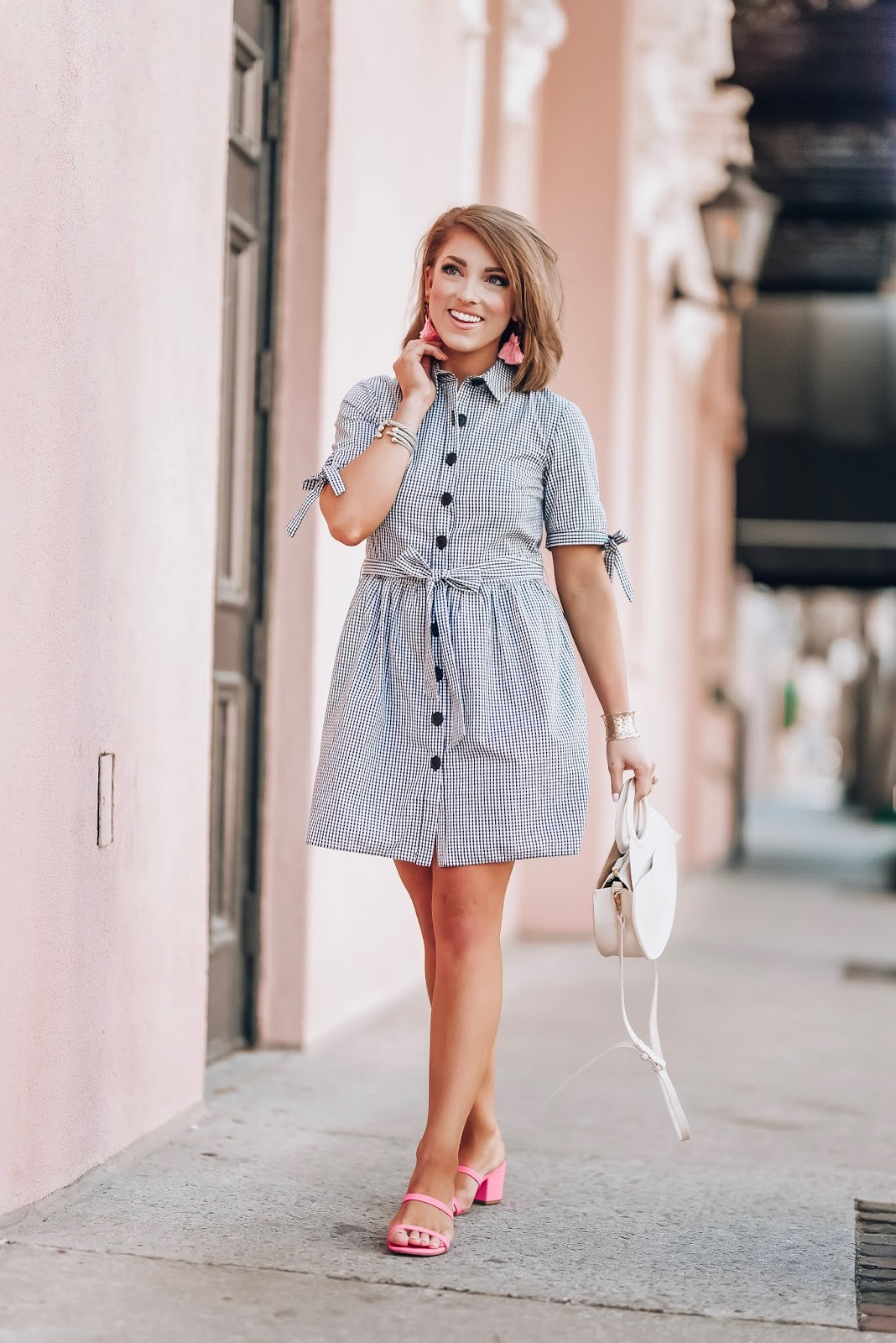 Gingham Bow Sleeve Button Up Dress in Charleston, SC - Something Delightful Blog #springstyle #gingham