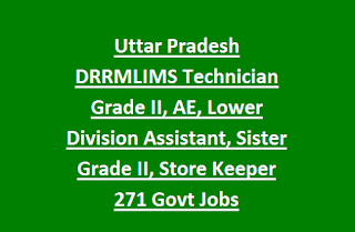 Uttar Pradesh DRRMLIMS Technician Grade II, AE, Lower Division Assistant, Sister Grade II, Store Keeper 271 Govt Jobs Recruitment 2017