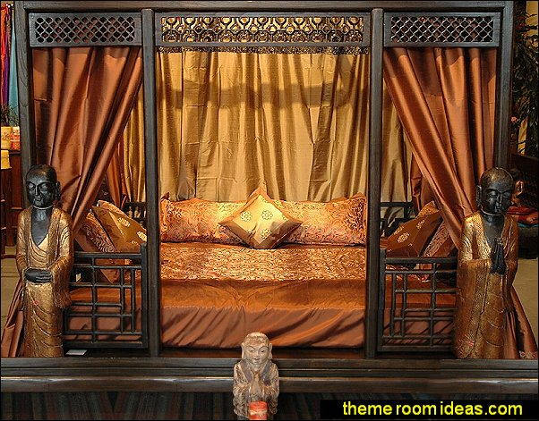 Chinese Canopy Den Bed by Worldcraft Industries  oriental theme bedroom decorating ideas - asian themed bedroom decorating ideas - Asian Decor - Oriental Decor - Japanese Inspired Bedrooms - Chinese theme decorating ideas - China and Japan Asian Style - Asian dragon themed