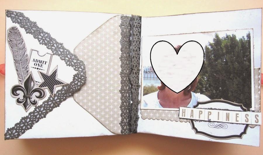 foto 5 decoración interior LOVE mini-álbum a la izquierda parte trasera de un sobre con solapas decoradas con ephemera pluma, estrella, ticket y washi tape de puntilla y a la derecha foto sobre mat y palabra happiness