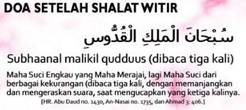 Bacaan Doa Setelah Sholat Witir Sesuai Sunnah