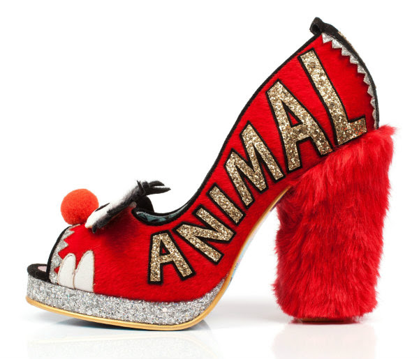 side view of Animal embroidery on Irregular Choice Louder Louder red shoes