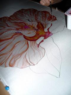 malowanie na jedwabiu, etap pracy orchidea