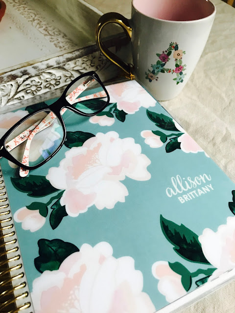 Erin Condren Planner with glasses and mug