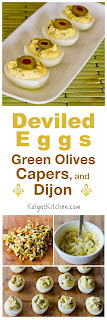 Deviled eggs with Green Olives, Capers, and Dijon found on KalynsKitchen.com