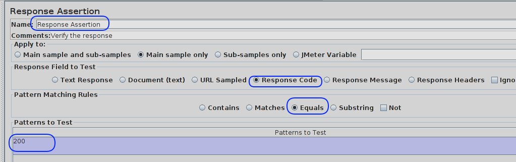 response assertion jmeter